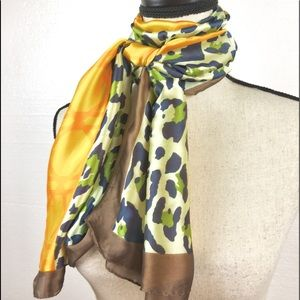 Leopard & Trellis Scarf, Colorful Chic, Never Worn